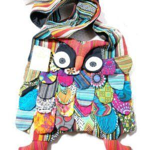 NEW Nepal Owl Boho Purse Fabric Handmade Hippie